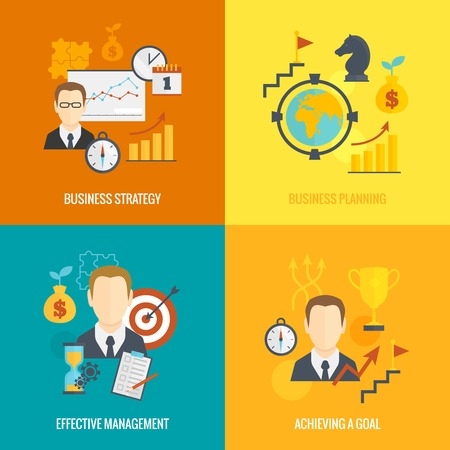 achieving: Business strategy planning icon flat set with effective management achieving a goal isolated vector illustration