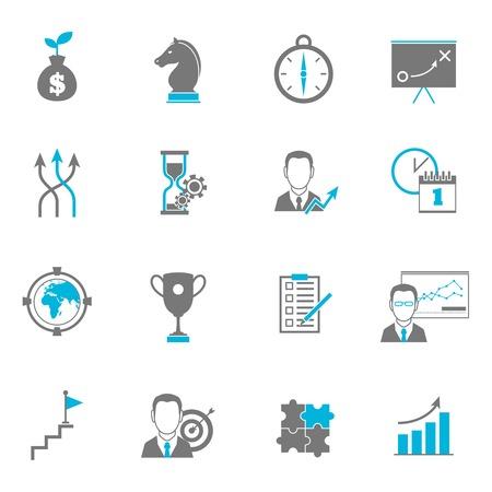 Obchodní strategie icon plánování byt s nastavením cíl směr spolupráce izolované vektorové ilustrace