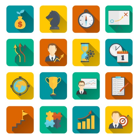 goal setting: Business strategy planning icon flat with to-do list activity analysis investments isolated vector illustration