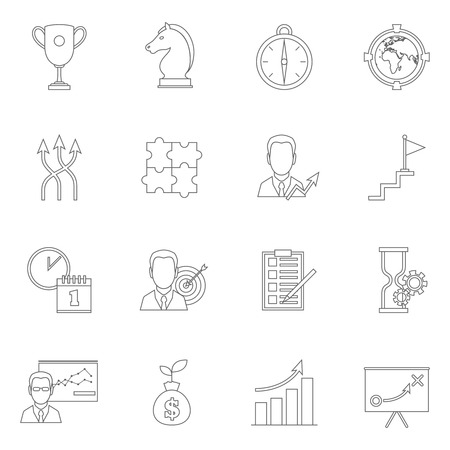 todo: Business strategy planning icon outline with award direction to-do list isolated vector illustration