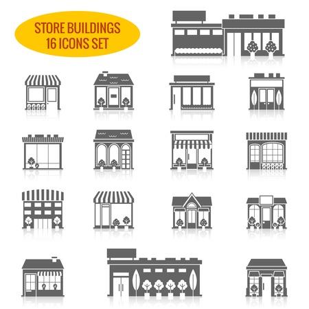 stores: Winkel winkel voorruit gebouwen zwarte icon set geïsoleerd vector illustratie