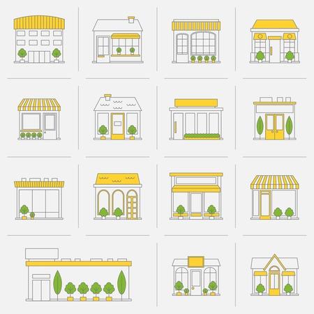 ストア ショップ ビジネス建物平坦線アイコン設定分離ベクトル イラスト  イラスト・ベクター素材