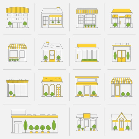 store front: Store shop business buildings flat line icon set isolated vector illustration