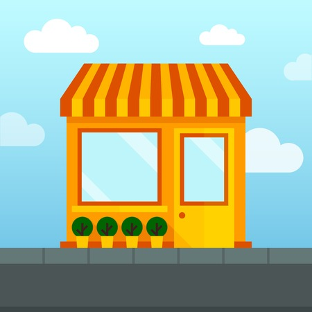 store front: Store shop front window with empty shelves vector illustration