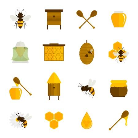 celula animal: Iconos Honey Bee plana conjunto con elementos de la agricultura apicultura alimentos aislados ilustración vectorial Vectores