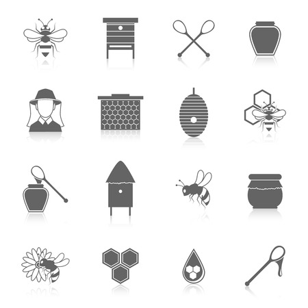 beekeeper: Natural sweet liquid bee honey icons black set isolated vector illustration