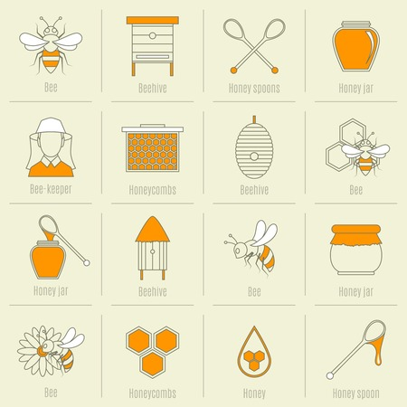beehive: Bee honey icons flat line set with beehive spoon jar isolated vector illustration Illustration