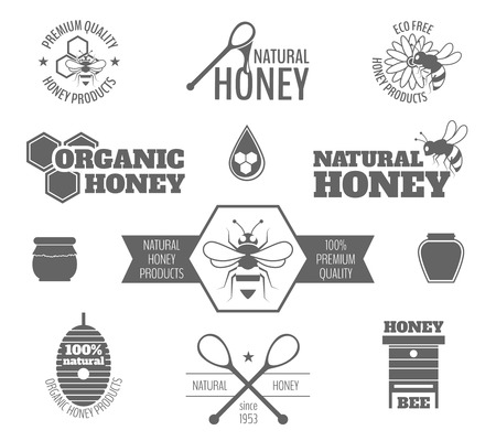 honeycomb: Abeja productos de primera calidad de la miel etiqueta negro conjunto aislado ilustración vectorial