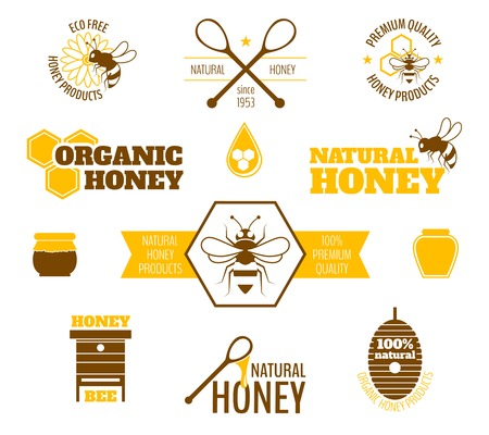 hives: Bee honey natural organic products colored label set isolated vector illustration