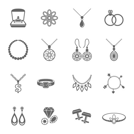 Jewelry black icons set of luxury jewels and precious gifts isolated vector illustration Ilustração
