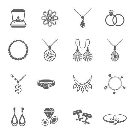 Sieraden zwarte iconen set van luxe juwelen en kostbare geschenken geïsoleerd vector illustratie