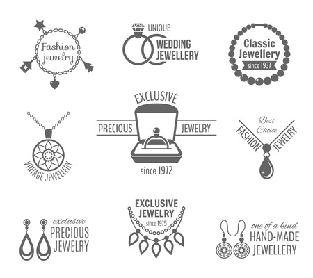 jewelery: Jewelry black label set of unique classic vintage jewellery isolated vector illustration
