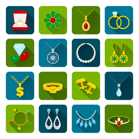 cuff link: Jewelry icons set of expensive golden diamond treasures isolated vector illustration