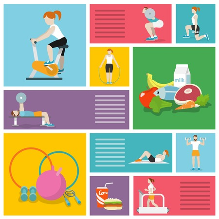 workout gym: People in gym sport workout exercises decorative icons set isolated vector illustration