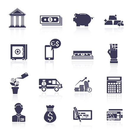 a bank employee: Bank financial wealth and growth service black icons set isolated vector illustration Illustration