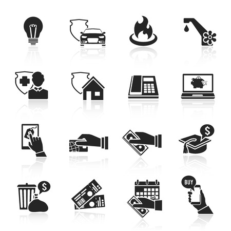 pay bill: Pay bill taxes payment deposit icons black set isolated vector illustration Illustration