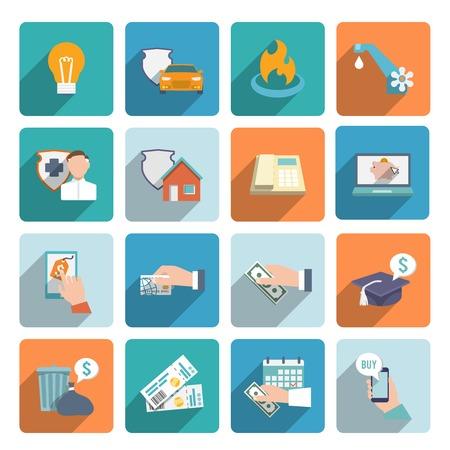 transakcji: Płatna rachunek transakcje on-line i ikony na zakupy płaskim set wyizolowanych ilustracji wektorowych Ilustracja