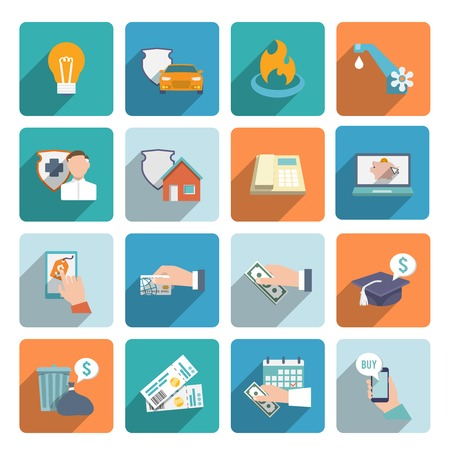 Pay bill on-line transactions and shopping icons flat set isolated vector illustration