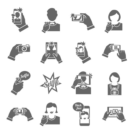 selfie: Selfie self portrait smartphone picture taking black icons set isolated vector illustration