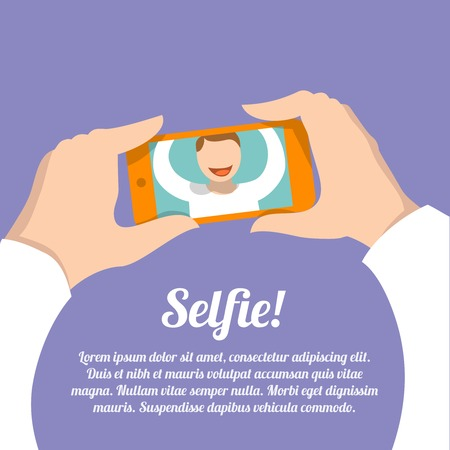 taking photograph: Selfie poster with man making self portrait picture with smartphone camera vector illustration Illustration