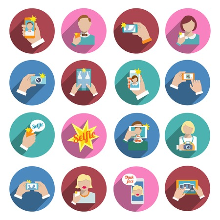 woman smartphone: Selfie self portrait smartphone camera picture taking flat icons set isolated vector illustration
