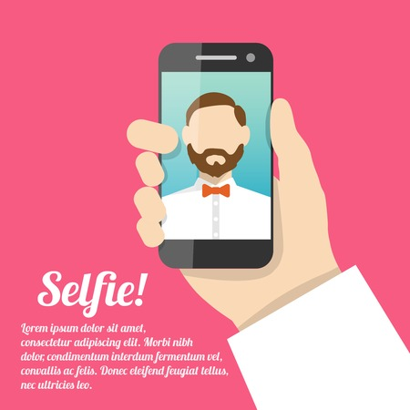 selfie: Selfie poster with man holding smartphone with self portrait picture vector illustration.