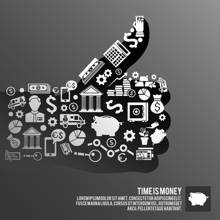 time money: Thumbs up human hand made of finance symbols business  concept vector illustration