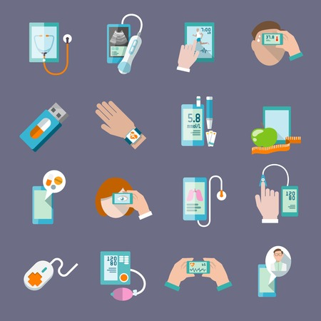 emergency call: Mobile health online pharmacy computer diagnostics icons flat set isolated vector illustration
