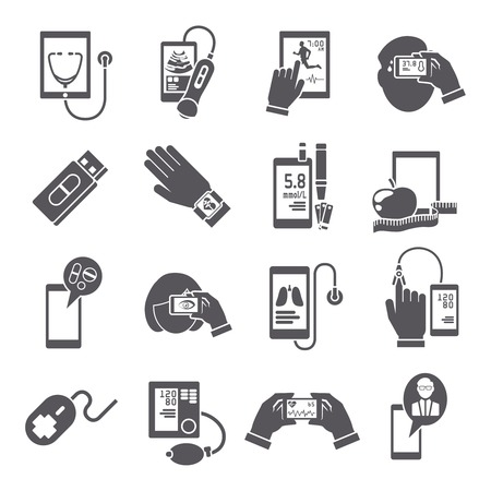 Mobile health pharmacy delivery computer diagnostics icons black set isolated vector illustration Illustration