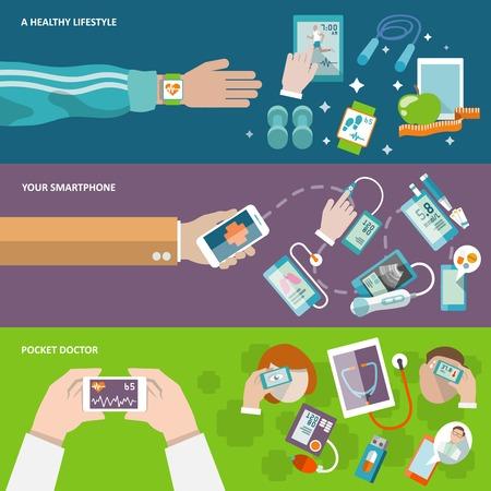 здравоохранения: Цифровой здоровья здоровый образ жизни смартфон карман врач баннер Отдельные векторные иллюстрации Иллюстрация
