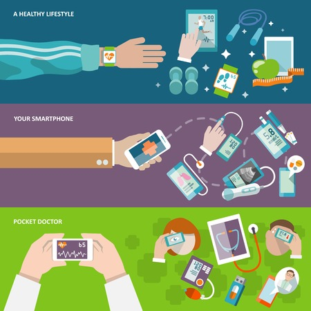 blood pressure monitor: Digital health healthy lifestyle smartphone pocket doctor banner set isolated vector illustration