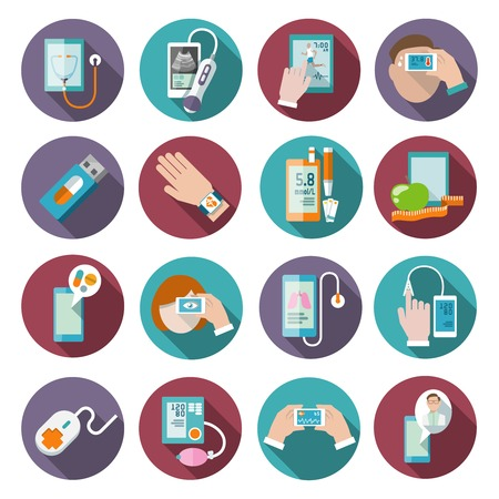 blood pressure monitor: Digital health icons set of pocket therapist blood pressure monitor isolated vector illustration