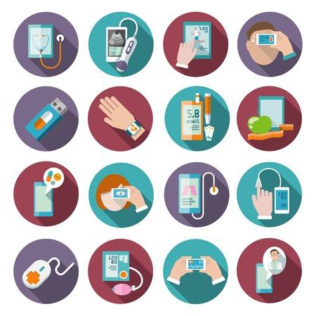 icone sanit�: Icone Digital Health set di tasca pressione sanguigna terapeuta monitorare illustrazione vettoriale isolato