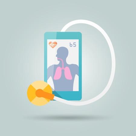 digital thermometer: Concetto di medicina mobile con smartphone e stetoscopio illustrazione vettoriale piatta Vettoriali
