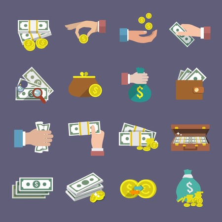 Money coin and paper cash icon flat set isolated vector illustration Vectores