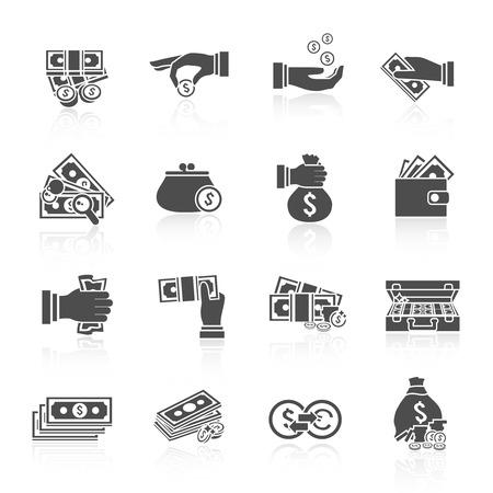 stack of cash: Moneda del dinero y el icono de dinero en efectivo de papel conjunto negro con aislados pila de monedas malet�n mano ilustraci�n vectorial