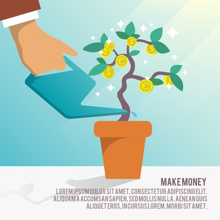 money tree: Human hand watering money dollar coin tree with can poster vector illustration