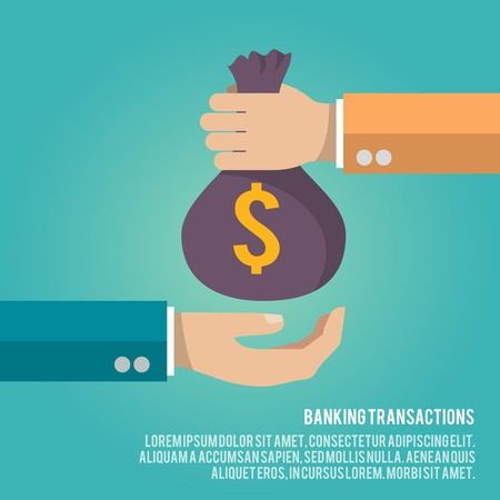 Human hand gives money bag to another person payment banking poster vector illustration