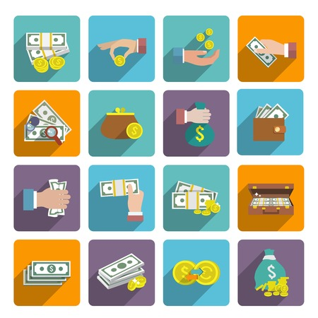 wealth: Money stack bag wallet icon flat set with investment market wealth elements isolated vector illustration