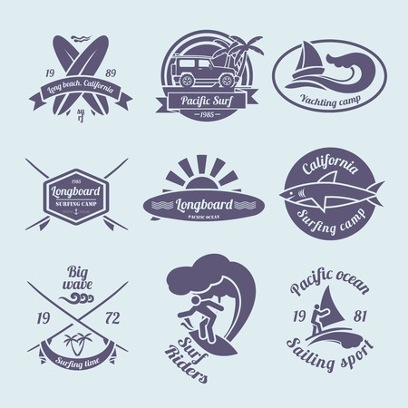 Beach longboard surfing summer yachting labels black set isolated vector illustration Vector