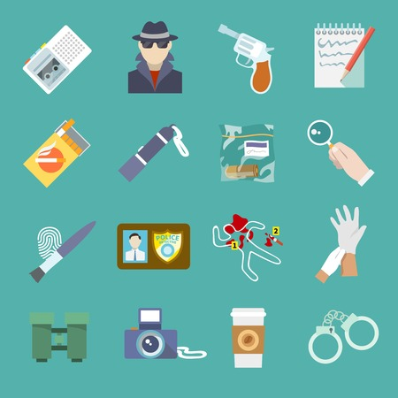 Police detective and criminal icons set of thief gun jail and flashlight isolated vector illustration Vector