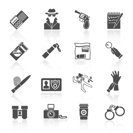 Police detective and crime evidence icons black set with handcuffs magnifier fingerprints isolated vector illustration Vector