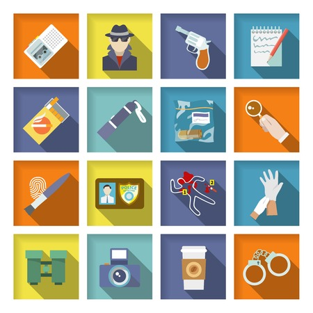 Police detective icons flat set with magnifier handcuffs coffee isolated vector illustration Ilustração