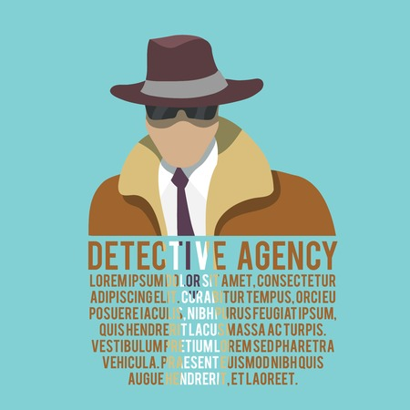 Detective agency poster with male silhouette in hat and glasses vector illustration Illustration
