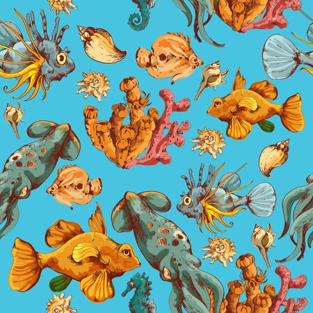 Sea fishes and ocean creatures sketch colored seamless pattern vector illustration Vector