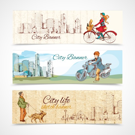 Modern urban people sketch colored horizontal banners set isolated vector illustration Illustration
