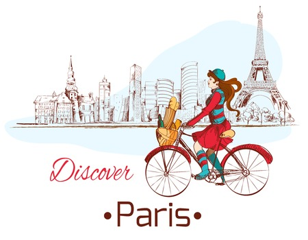 discover: Discover Paris sketch poster with gjrl on bike and eiffel tower vector illustration