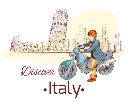 discover: Discover Italy sketch poster with travel landmarks and person on motorcycle vector illustration