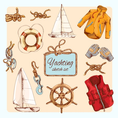 fishing boats: Yachting sea travel decorative sketch icons set with steering wheel rope knot gloves isolated vector illustration