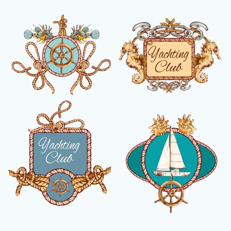 Yachting sea travel and sport decorative colored sketch emblems set with rope frames isolated vector illustration Vector